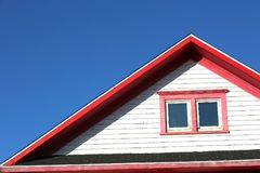 Red roof top in Magdalein island Stock Images