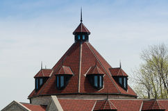 Red roof with a tower and dormers Stock Photography