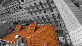 Red roof. View to the Lisbon street from the Elevator Royalty Free Stock Photography