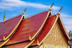 Red roof of Wat Chedi Luang temple in Chiang Mai - Thailand. View on red roof of Wat Chedi Luang temple in Chiang Mai - Thailand Stock Photos