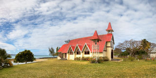Red roofed church. In Mauritius Stock Photography