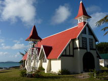 Red Roofed Church. In Cap Malheureux, North Of Mauritius Island Royalty Free Stock Image