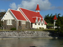 Red Roofed Church. In Cap Malheureux, North Of Mauritius Island Royalty Free Stock Photography