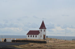 Red Roofed Church Found in Hellnar Iceland Stock Photo