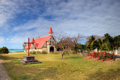 Red roofed church, Mauritius Stock Photo