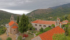 Red roofed church in Montenegro Royalty Free Stock Photography
