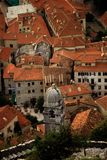 Red roofed town. A sea side town in eastern europe stock photos