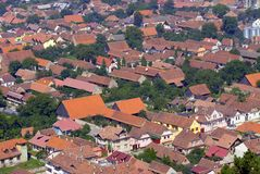 Red roofs. Top view over a city with red roofs Stock Photos