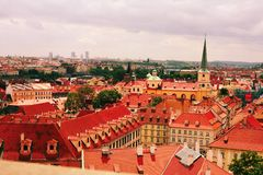 Red roofs of ancient city Prague Stock Photo