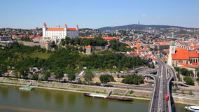 Red roofs and auto junction, Bratislava stock footage