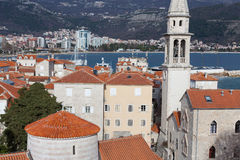 Red roofs of Budva in Montenegro stock image