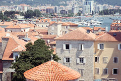 Red roofs of Budva in Montenegro, view from top of citadel. Red roofs of old town of Budva in Montenegro, view from top of citadel Royalty Free Stock Photo