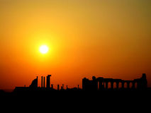 Sunset in Volubilis (Morocco). Sunset in Volubilis, a partly excavated Roman city in Morocco situated near Meknes Royalty Free Stock Photography