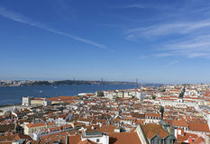 Red Roofs of the Capital City of Lisbon, Portugal. View of the Red Roofs of the Capital City of Lisbon, Portugal stock photo