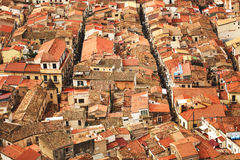 Red roofs in Cefalu. View on old red roofs in Cefalu city. SIcily island, Italy, Europe Royalty Free Stock Photo