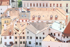 Red roofs in Cesky Krumlov stock photography