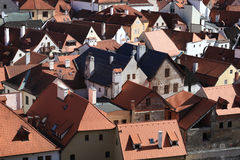 Red roofs of Cesky Krumlov town Royalty Free Stock Photography