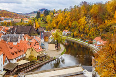 Red roofs of Cesky Krumlov Stock Images