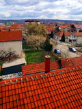 Red roofs and chimneys. In the Serbian town of Pozarevac Stock Photography