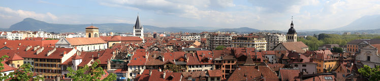 Red roofs of the city Annecy. Panorama. Royalty Free Stock Images