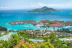 Red roofs of Eden Island, aerial view of Seychelles Royalty Free Stock Photography
