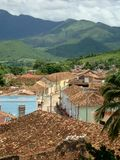 Red roofs and green mountain Stock Photo