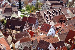 Red roofs and half-timbered houses of old city. HERRENBERG, GERMANY - APRIL 19, 2015: Fragment Panorama. Red roofs and half-timbered houses of old city. Baden Royalty Free Stock Photos