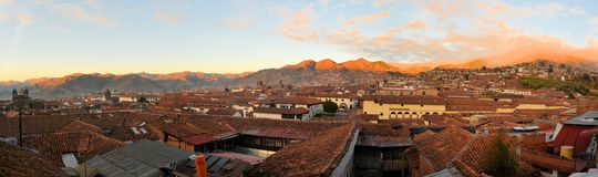 Red roofs in a historic area of Cuzco, Peru Royalty Free Stock Photography