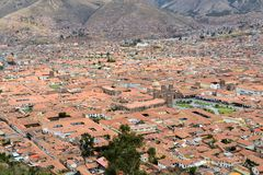 Red roofs of historic center, Cuzco, Peru Stock Photography