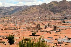 Red roofs of historic center, Cuzco, Peru Stock Photos