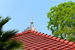 Red roofs on hotel. With tree Stock Photos