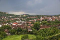 Red roofs of the Hunedoara city in Hunedoara County in Transylvania, Romania royalty free stock photo