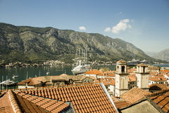 Red roofs of Kotor Stock Image