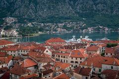 Red roofs of Kotor old town Stock Image