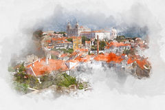 Red roofs in Lisbon, Portugal, watercolor. Red roofs in Lisbon, Portugal, digital watercolor illustration Stock Illustration