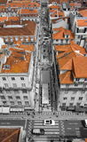 Red roofs of Lisbon. View to the Lisbon street fro the Elevator royalty free stock photography