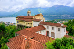 Red roofs of Madonna del Sasso Church, Locarno, Switzerland Stock Photos