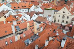 View of Mala Strana in Prague. Red roofs of old buildings at the Mala Strana District Lesser Town in Prague, Czech Republic, viewed from above Stock Photography