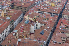Red roofs of old houses Florence seen from the observation platform Duomo, Cathedral Santa Maria del Fiore. Stock Images