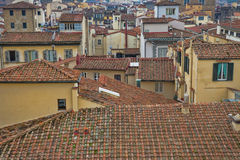 Red roofs of old houses Florence seen from the observation platform Duomo, Cathedral Santa Maria del Fiore. Stock Photo