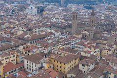 Red roofs of old houses Florence seen from the observation platform Duomo, Cathedral Santa Maria del Fiore. Royalty Free Stock Photo