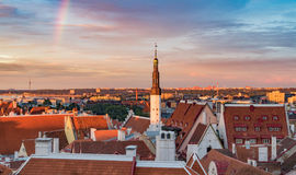 Red roofs of Old Town against colorful sunset sky, Tallinn Stock Photography