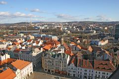 Red roofs of Plzen Stock Photos