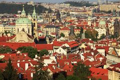 Red roofs of Prague centrum. Royalty Free Stock Images