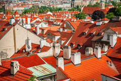 Red roofs in Prague Stock Image