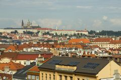 Red roofs in Prague stock images
