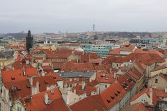 Panoramic view of historical Prague stock photography