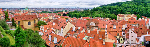 Red roofs of Prague - panorama, Czech Republic Royalty Free Stock Photos