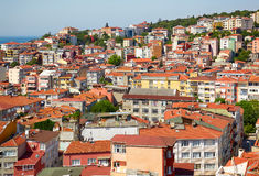 Red roofs of residential houses on the shore of the Bosphorus, I Royalty Free Stock Images