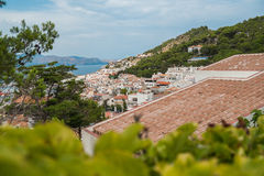 Red roofs and white houses. On the Costa Brava. Spain royalty free stock image